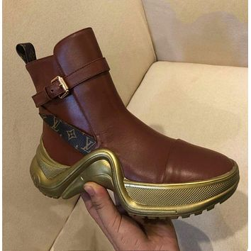 LV Louis Vuitton 2018 autumn and winter new sports casual platform boots high shoes F-ALS-XZ red