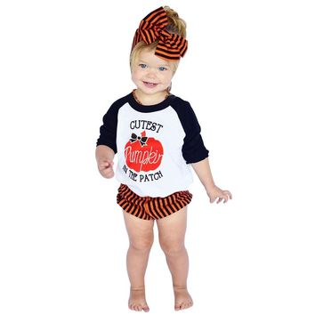 New Halloween Newborn Clothing Sets Suit Infant Baby Boys Girls Toodler Kids Pumpkin Tops Pants Headband 3PCS Outfits