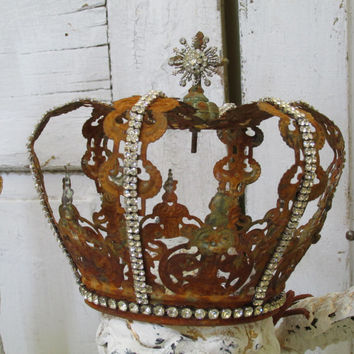 Large ornate crown rusted oxidized aged French inspired rhinestone embellished for statues or home decor Anita Spero