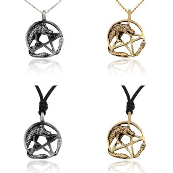 New Lovely Dragon Pentagram Silver Pewter Brass Charm Necklace Pendant Jewelry