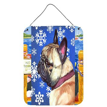 French Bulldog Frenchie Winter Snowflakes Holiday Wall or Door Hanging Prints LH9587DS1216