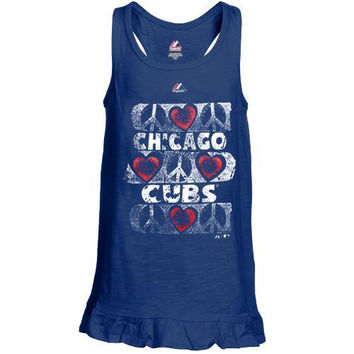 Majestic Chicago Cubs Preschool Girls Flutterball Tank Top - Royal Blue - http://www.shareasale.com/m-pr.cfm?merchantID=7124&userID=1042934&productID=528499200 / Chicago Cubs