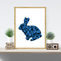 Navy and Blue Decor, Rabbit Art Print, Blue and Navy Art, Rabbit Art, Geometric Animal Art, Navy and Blue Artwork, Navy Animal Print *178*