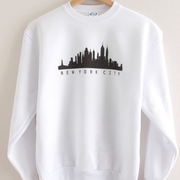 New York City Skyline Graphic Crewneck Sweatshirt
