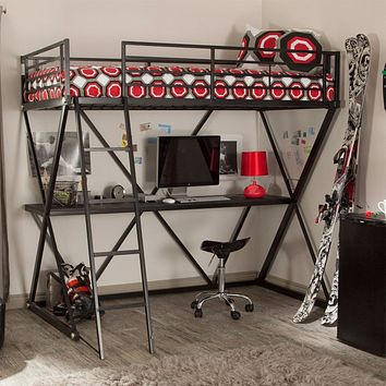 Modern Twin over Desk Loft Bed with Ladder in Black Metal Finish