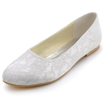 Woman Wedding Bridal Flats White Ivory Closed Toe Comfort Lace lady Bride ballerina Ballets Evening Party Shoes