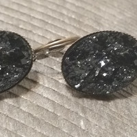 Druzy earrings-  Black drusy bronze tone dangle druzy earrings