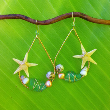 Starfish Seashell Sea Glass Earrings, Gold Filled Wire Wrapped, Hawaii Beach Jewelry