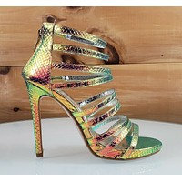"Bella Luna Jane 3 Rose Gold Green Hologram Multi Strap 4.5"" High Heel Shoe 5-10"