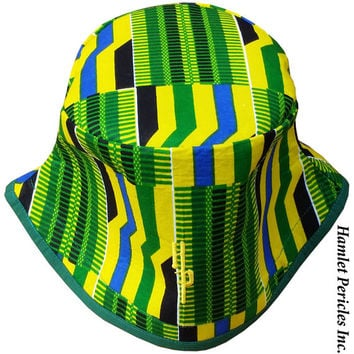 African Kente Unisex XL Bucket Hat | Kente Hat | African Hat | Kente Cloth | Green Yellow Hat | Stripe Hat | Africanwear by Hamlet Pericles