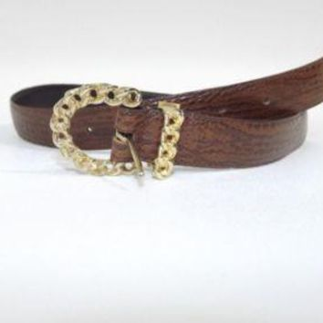The Leather Shop Womens Tan Brown Croc embossed Belt W/ Chain Gold buckle Size M