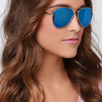 Fly By Night Silver and Blue Mirrored Aviator Sunglasses