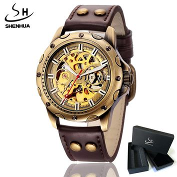 Mens Retro Skeleton Automatic Mechanical Watch Steampunk Men SHENHUA Vintage Bronze Plating Transparent Wrist Watches Clock Man