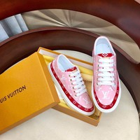 Kuyou Gx19711 Lv Louis Vuitton Women's Red Leather Sneakers