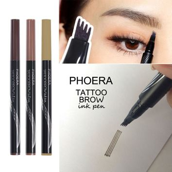 High Quality Women Tattoo Eyebrow Pencil Waterproof Long lasting Fork Tip Microblading Makeup Ink Sketch Eye Brow Pen