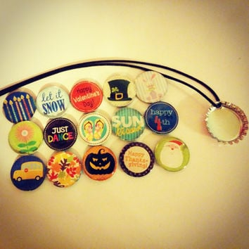 Magnetic Character Holiday Necklace Pack - magnetic bottlecap necklace, holiday necklace, birthday necklace
