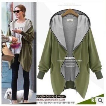 Winter Women's Army green hooded zip big yards long loose coat windbreaker = 1932124548