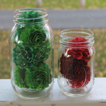 Christmas Flower Filled Quart and Pint Sized Mason Jars - Great for home decor, center pieces, or even give as a gift!