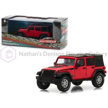 2017 Jeep Wrangler Unlimited Rubicon Recon Red with Black Top in Display Showcase 1/43 Diecast Model Car by Greenlight