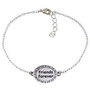 """Chuvora .925 Sterling Silver """"Friends Forever"""" Circle Charm Bracelet 7'' with 2'' extension chain, Gift for a Friend, Best friend: Jewelry: Amazon.com"""