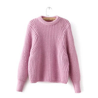 Penelope Pullover Knitted Sweater - Pastel Pink