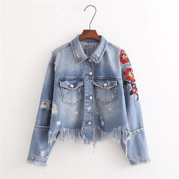 Trendy 2018 Women Jeans Jacket Flower Embroidered Ripped Short Jackets Autumn Tassel Denim basic Jacket Short Coat Outwear ZY4267 AT_94_13
