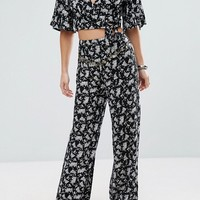 Sisters Of The Tribe Petite Printed Pant With Coin Detail Co-Ord at asos.com