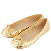 VEE Woven Metallic Ballerina Pumps - Shoes  - Gifts