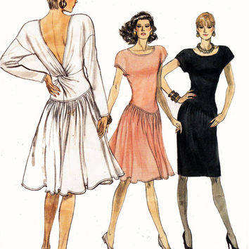 Drop Waist Dress with Twist Drape 1980s Vintage Sewing Pattern Vogue 7154 Size 12 14 16 Bust 34 36 38 UNCUT FF