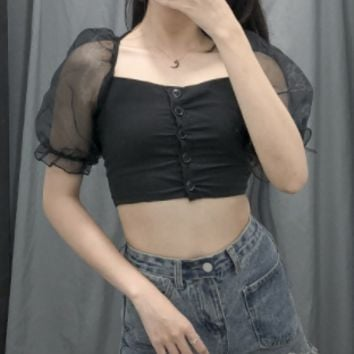 Forward and transparent transparent puff sleeves high waist T-shirt