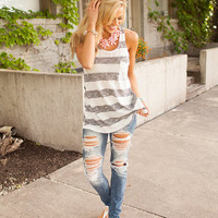 Black Racerback Striped Pocket Tank