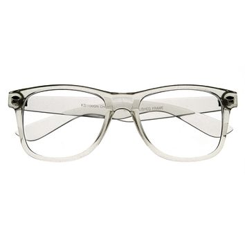 Super Clear Transparent Crystal Frame Horned Rim Glasses 8050