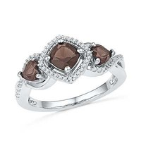 5.0mm Cushion-Cut Smoky Quartz and 1/10 CT. T.W. Diamond Three Stone Ring in Sterling Silver - View All Rings - Zales