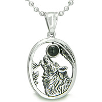 Amulet Courage Howling Wolf Simulated Black Onyx Moon Pendant 18 Inch Necklace