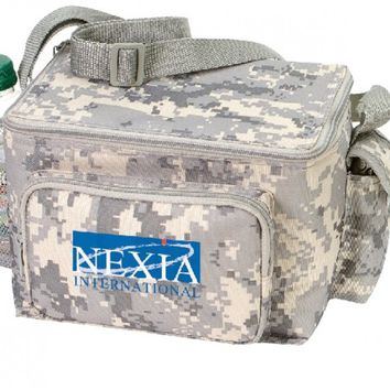 Digital Camo 6 Pack Poly Cooler with Bottle Holder and Cell Phone Pouch [Tan Digital Camo]