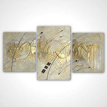 Gold gray white textured abstract painting - modern art - multi panel stretched canvas ready to hang - contemporary wall art