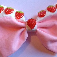 Strawberries and Cream Sweet Lolita Hair Bow Hairbow Pastel Pink Kawaii Cute Pastel Goth Kitsch Decora Decoden Fairy Kei Dripping Melting