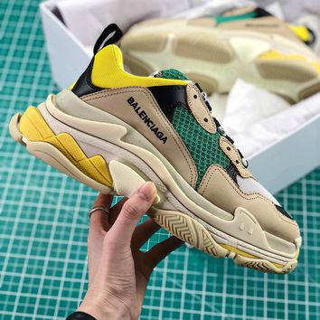Balenciaga Triple S Trainers Grey Green Yellow Sneakers - Best Online Sale