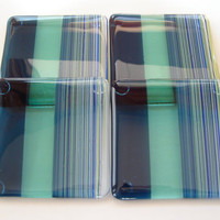 Shades of Atlantis Fused Glass Coasters
