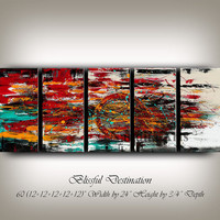 Original Set of 5 Abstract painting by Nandita -  Modern Art for sale 60x24 multicolored fine art on canvas, Ready to Hang ground shipping.