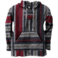 Red & Grey Stripe Woven Baja Hoodie