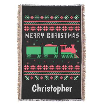 Train Railroad Ugly Christmas Sweater Throw Blanket