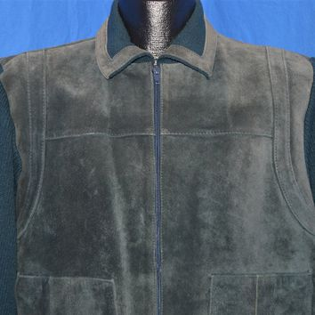 80s Blue Suede Sweater Jacket Men's Large