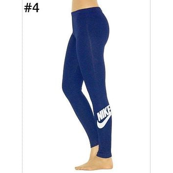 NIKE Tide Fashion New Letter Hook Print Brand Women's Sports And Fitness Casual Leggings Pants Blue