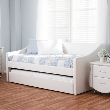 Baxton Studio Barnstorm Modern and Contemporary White Faux Leather Upholstered Daybed with Guest Trundle Bed Set of 1