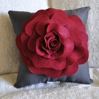 Gray Decorative Pillow Rose Pillow Ruby Red on Grey by bedbuggs