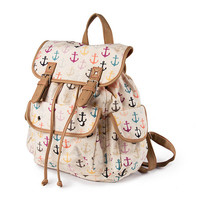 Burlington Pastel Anchor Print Canvas Backpack