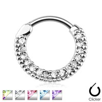 Round Paved Gems Septum Clicker