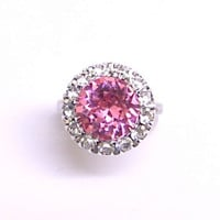 Art Deco crystal ring. Pink crystal. Halo crystals. Sterling Silver.