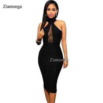 Women Summer Dress Hollow Out Chest Sleeveless Slim Bandage Dress Knee-Length Bodycon  Dresses